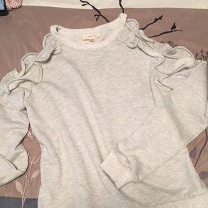 Grey cold shoulder ruffle sweatshirt